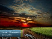 Road and Red Sky PowerPoint Templates