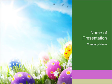 Decorated Easter Eggs in Grass PowerPoint Template, Backgrounds ...