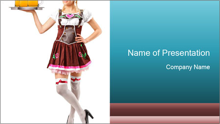german waitress with beer glasses powerpoint template backgrounds