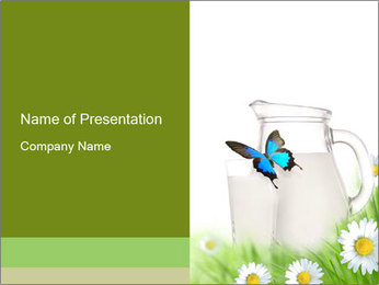 Butterfly Sitting on Milk Jar PowerPoint Template