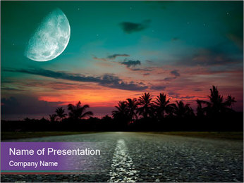 Fuul Moon and Empty Road PowerPoint Template