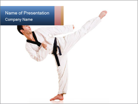 instructor of martial arts powerpoint template & backgrounds id, Presentation templates