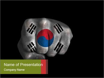 South Korea Flag on Man's Fist PowerPoint Template