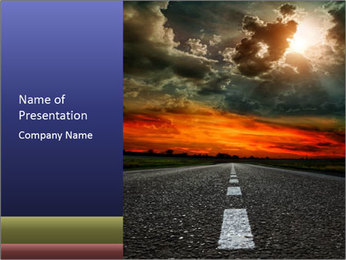 Road and Red Sky PowerPoint Template