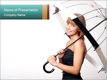 Fashionable Lady Holding Transparent Umbrella PowerPoint Template