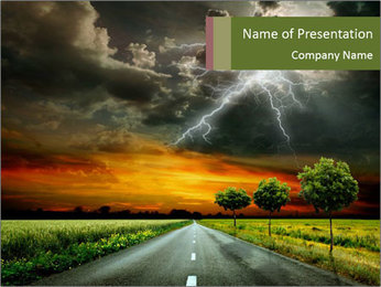 Lightning and Empty Road PowerPoint Template