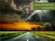 Lightning and Empty Road PowerPoint Templates
