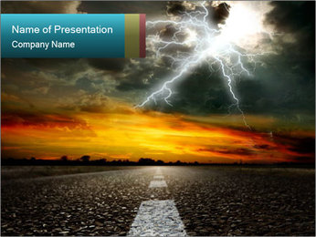 Road and Lightning PowerPoint Template