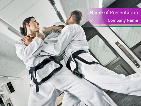 martial arts school powerpoint template & backgrounds id, Presentation templates