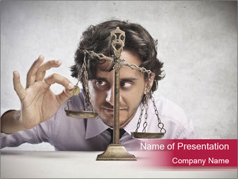 Greedy Man with Scales PowerPoint Template