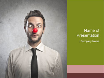 Businessman with Clown Nose PowerPoint Template