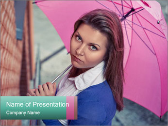 Woman with Pink Umbrella PowerPoint Template