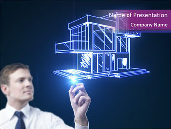 3D House Scratch Modelos de apresentações PowerPoint
