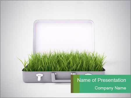 Suitcase With Green Grass Powerpoint Template Backgrounds Id