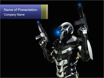 Futuristic Robot Warrior PowerPoint Template