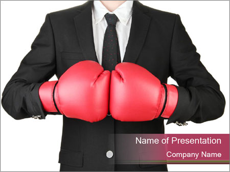 businessman wearing red boxing gloves powerpoint template