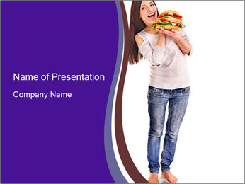 Woman Dunning with Junk Food PowerPoint Template