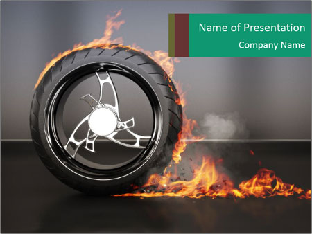 spinning wheel in fire powerpoint template backgrounds google