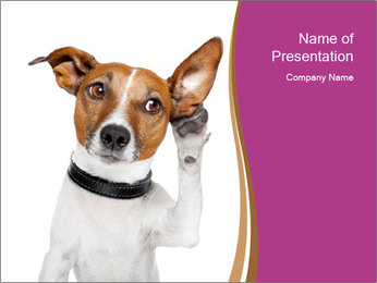 Dog Listening to Gossips PowerPoint Template