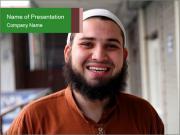 Bearded Muslim Man PowerPoint Templates