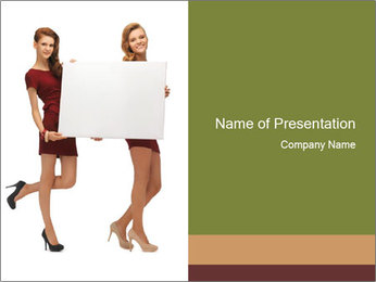 Two Models Holding Board PowerPoint Template