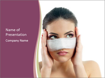 Woman After Nose Operation PowerPoint Template