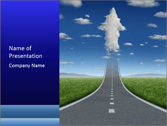 Road Arrow Raising to the Sky PowerPoint Template