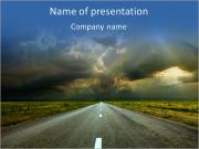 Driving At Sunset PowerPoint Templates