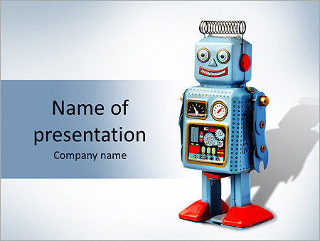 funny robot powerpoint template & backgrounds id 0000007271, Powerpoint templates