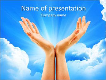 Hands In Sky PowerPoint Template