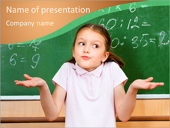 Schoolgirl At Blackboard PowerPoint Template