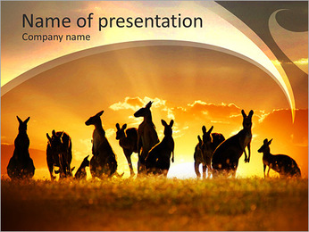 Wild Animals at Sunset PowerPoint Template