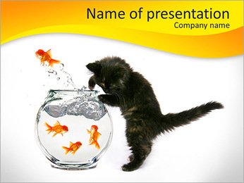 Kitty With Fish PowerPoint Template