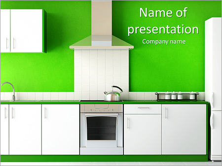 kitchen furniture powerpoint template & backgrounds id 0000007491, Presentation templates