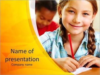 Girl In School PowerPoint Template