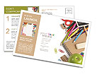 School stationery isolated over white with copyspace Postcard Template