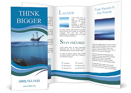 sail boat in tropical calm sea and coral reef underwater brochure