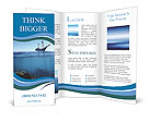Sail boat in tropical calm sea and coral reef underwater Brochure Templates