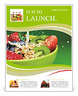 Bowl with muesli and fresh berries and fruits with splashing milk Flyer Template