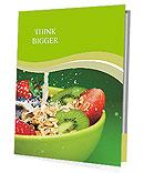 Bowl with muesli and fresh berries and fruits with splashing milk Presentation Folder