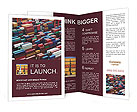 Lot's of cargo freight containers in the Hong Kong sea port. Brochure Templates