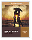 Couple kissing under umbrella at the beach in sunset. Photo in old image style. Word Templates
