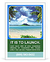 Tropical coast, beach with hang palm trees. View of the Sea, the island green and the sky with large Ad Template