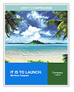 Tropical coast, beach with hang palm trees. View of the Sea, the island green and the sky with large Word Templates