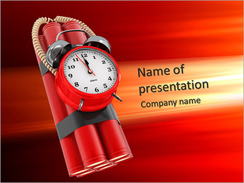 Countdown. Time bomb with alarm clock detonator. Dynamit. 3d PowerPoint Template