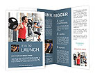 Group with dumbbell weight training equipment on sport gym Brochure Templates