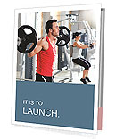 Group with dumbbell weight training equipment on sport gym Presentation Folder