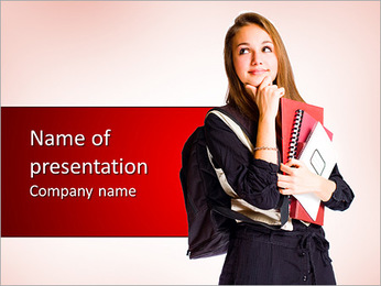 Portrait of a cute young student girl with pondering gesture. PowerPoint Template