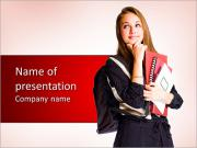 Portrait of a cute young student girl with pondering gesture. PowerPoint Templates