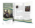 Medieval knight against hill full of crosses. Brochure Templates